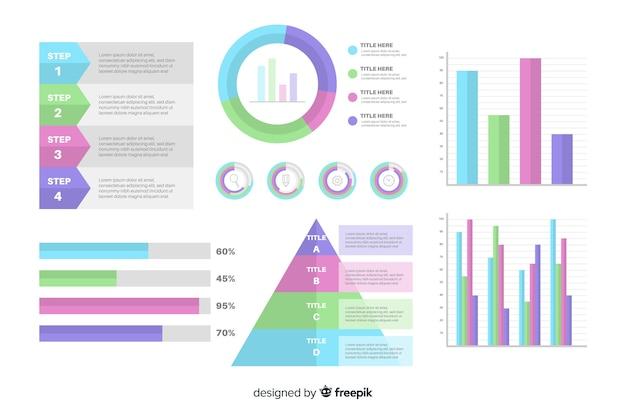 Плоский дизайн инфографики набор элементов