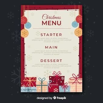 Плоский дизайн шаблона меню рождество