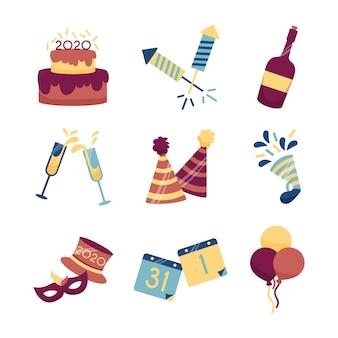 フラットなデザイン新年パーティー要素コレクション