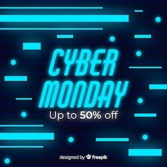 Неоновый кибер понедельник в плоском дизайне