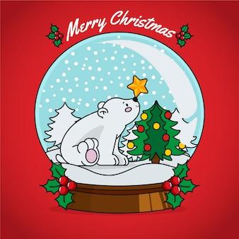 手描きクリスマススノーボールグローブ