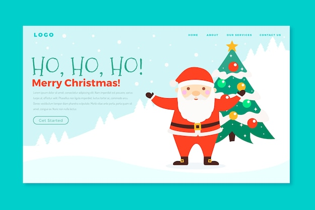フラットなデザインのクリスマスランディングページ
