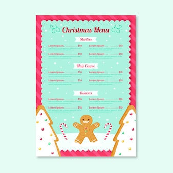 Шаблон меню рождество в плоском дизайне