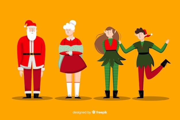 Рождественская коллекция персонажей в плоском дизайне