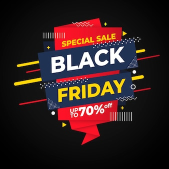 Плоский дизайн черная пятница специальная распродажа баннер