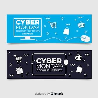 Плоский дизайн кибер понедельник баннеры коллекции
