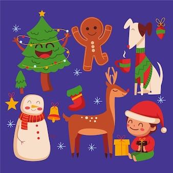 Плоский дизайн рождественской коллекции персонажей