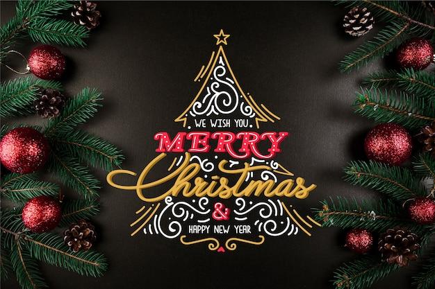 レタリングと美しいクリスマスコンセプト