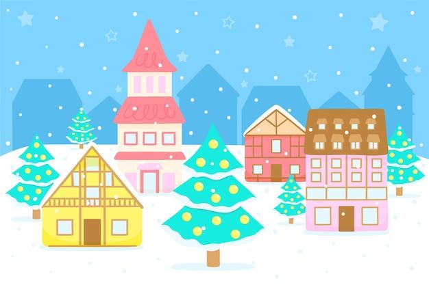 手描きスタイルのクリスマスタウン