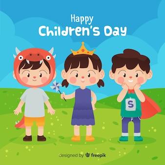 Концепция дня детей в плоском дизайне