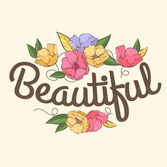 花の美しいレタリング