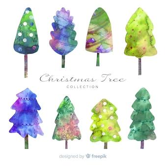 水彩のクリスマスツリーコレクション