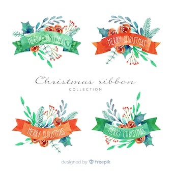 Коллекция акварельной рождественской ленты