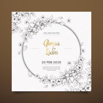 茶色の色合いに現実的な手描きの花の結婚式の招待状