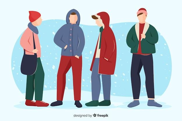 冬の服を着ている若い男の子
