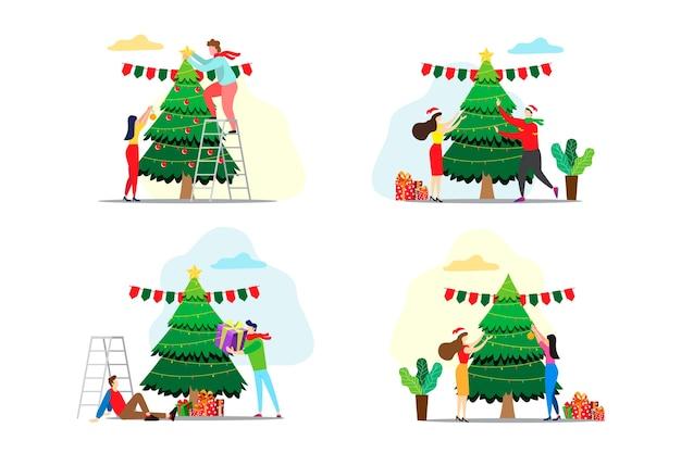 クリスマスツリーのさまざまなアイデアを飾る