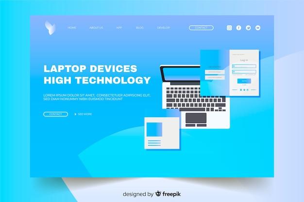 ラップトップデバイスのハイテクランディングページ
