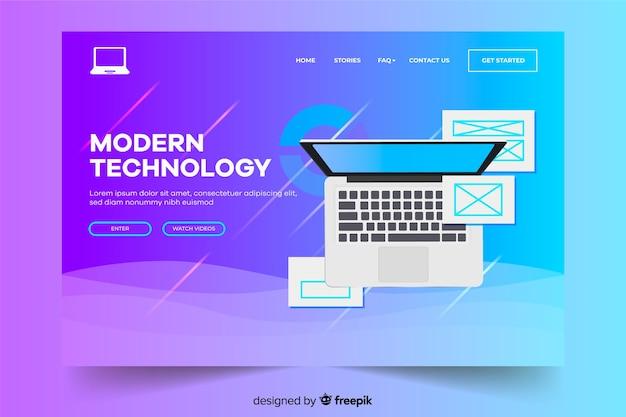 Целевая страница с ноутбуком современной технологии