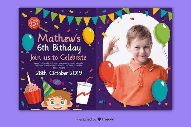 Детский шаблон приглашения на день рождения с рисунком