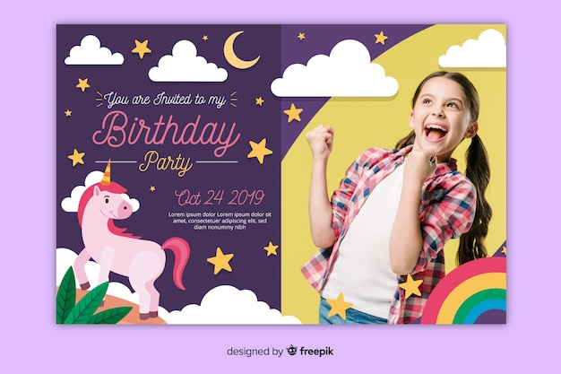Детский шаблон приглашения на день рождения с картинкой