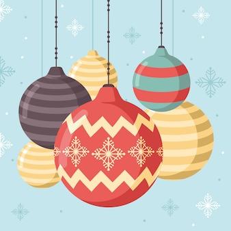 Красочные новогодние шары в плоском дизайне