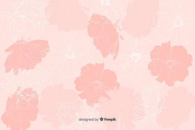 パステル調の背景に現実的な手描きの花