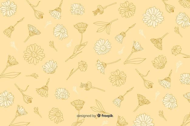 パステル調の背景に手描きの花