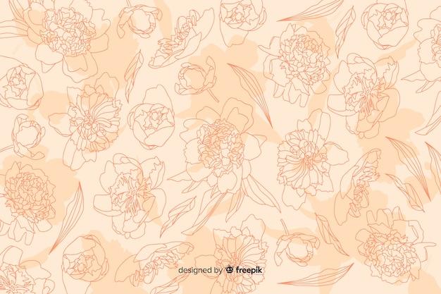 パステル調の背景に現実的な花