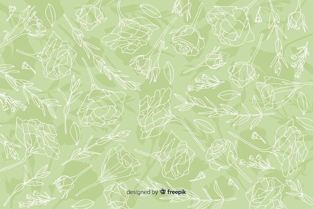 リアルな手描きの花とパステル調の背景の葉