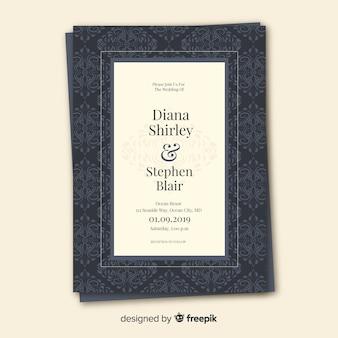 美しいダマスク織の結婚式の招待状のテンプレート