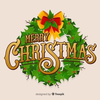 花輪とメリークリスマスレタリング