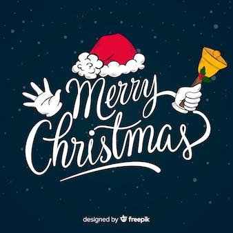 サンタの帽子とメリークリスマスレタリング