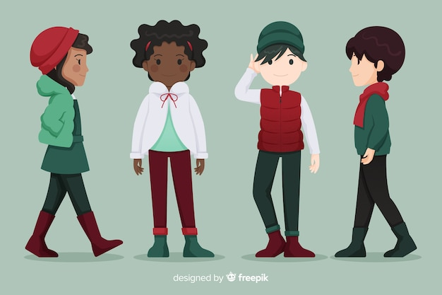 冬の服の人々のグループ