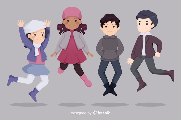 冬の服を着ている若者