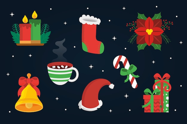Плоский дизайн рождественская коллекция элементов