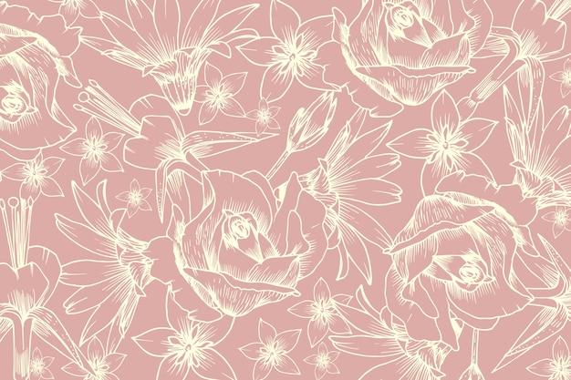 パステルピンクの背景に現実的な手描きの花