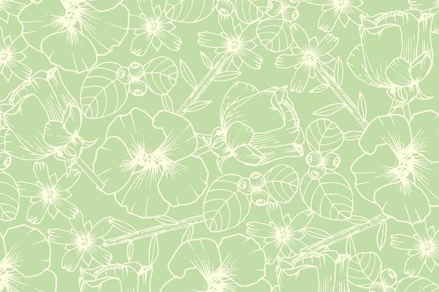 パステルグリーンの背景に現実的な手描きの花