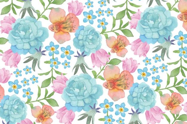 青いバラと水彩の花の背景
