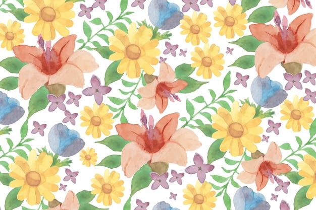 ユリと水彩の花の背景