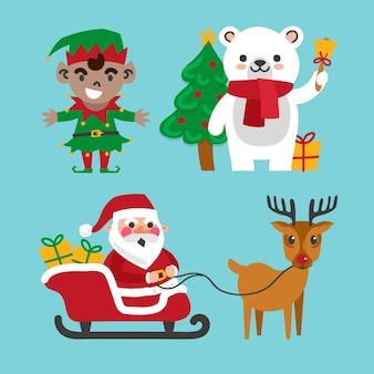 Коллекция рисованной рождественских персонажей