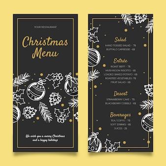 Нарисованный рукой шаблон меню рождества