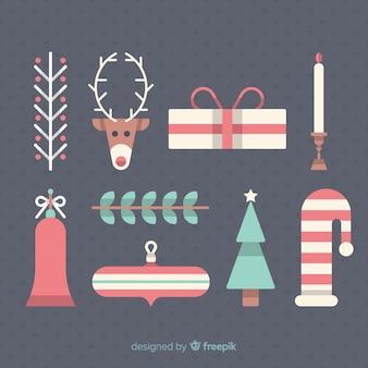 フラットなデザインのクリスマス要素のコレクション