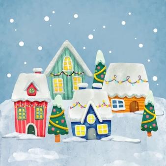 Акварельный рождественский городок