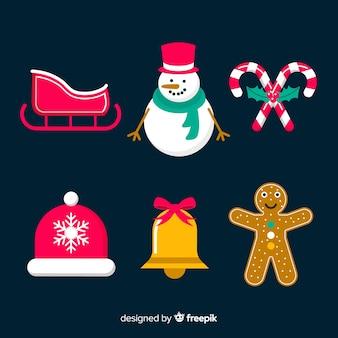 Набор плоских рождественских элементов