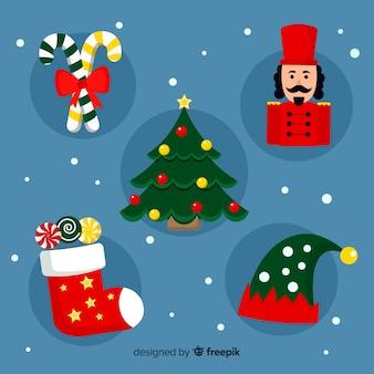 Плоский рождественский пакет элементов