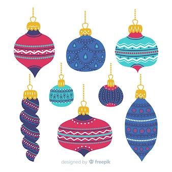 Нарисованные от руки красочные новогодние шары
