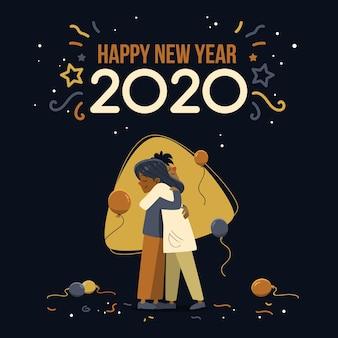Новый год концепция в рисованной
