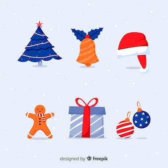Плоский дизайн рождественский набор элементов