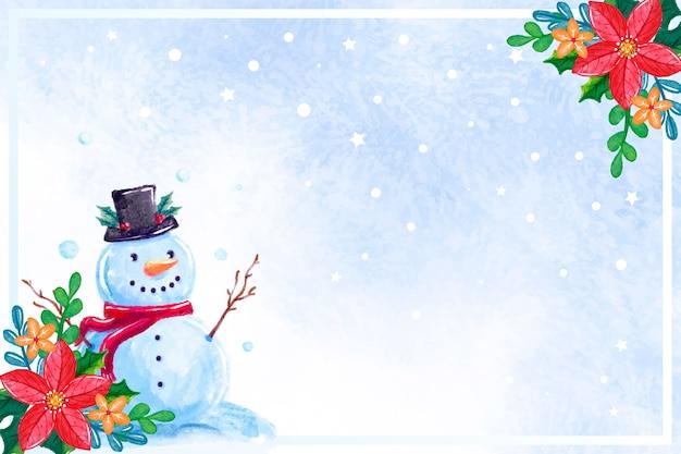 Акварель новогодний фон со снеговиком