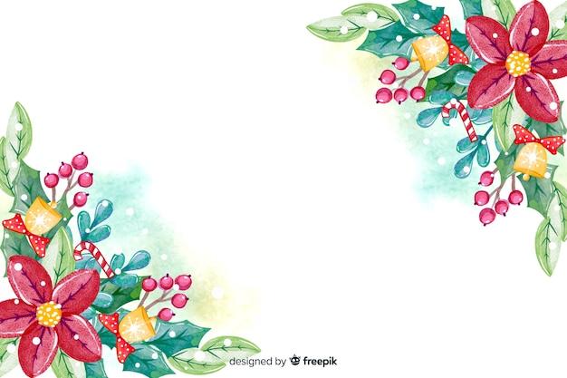 Акварель новогодний фон с цветами